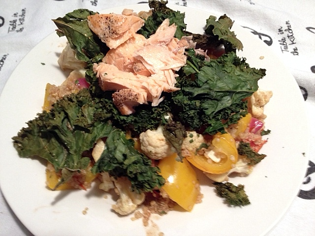 Salmon and Roasted Vegetable Feta and Quinoa Salad - Treble in the ...